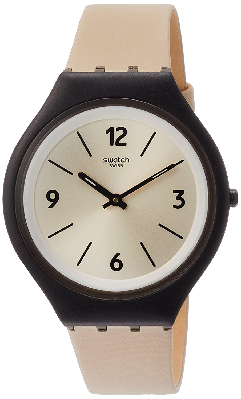 Swatch Women s Analogue Quartz Watch with Leather Strap SVUB101