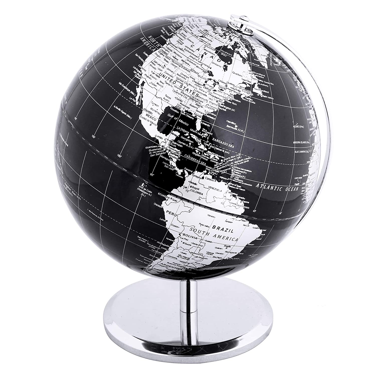 Exerz Metallic World Globe (Dia 8-Inch / 20cm) Black – Educational/Geographic/Modern Desktop Decoration - Stainless Steel Arc and Base/Earth World - Metallic Black - for School, Home, and Office