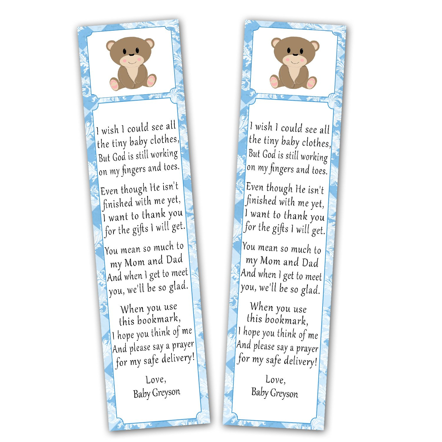 Amazon 50 Personalized Bookmarks Baby Boy Shower Party Favor