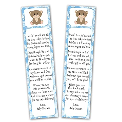 amazon com 50 personalized bookmarks baby boy shower party favor