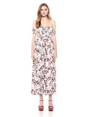 b1dd834d44 Romantic Dreamers Women s Off-Shoulder Smocked Floral-Print Maxi Dress  Small Print