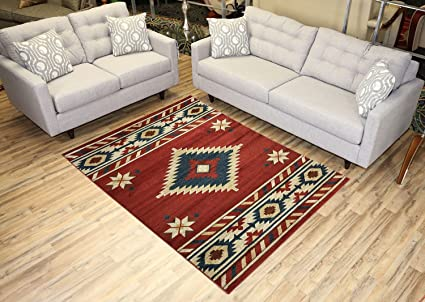 Nevita Collection Southwestern Native American Design Area Rug Rugs  Geometric (Orange (Terra) Blue