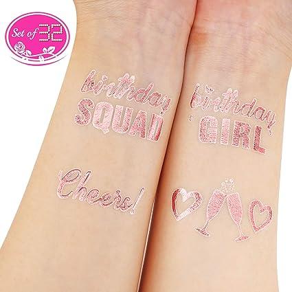 Konsait oro rosa cumpleaños Tatuajes temporales para niños mujer ...