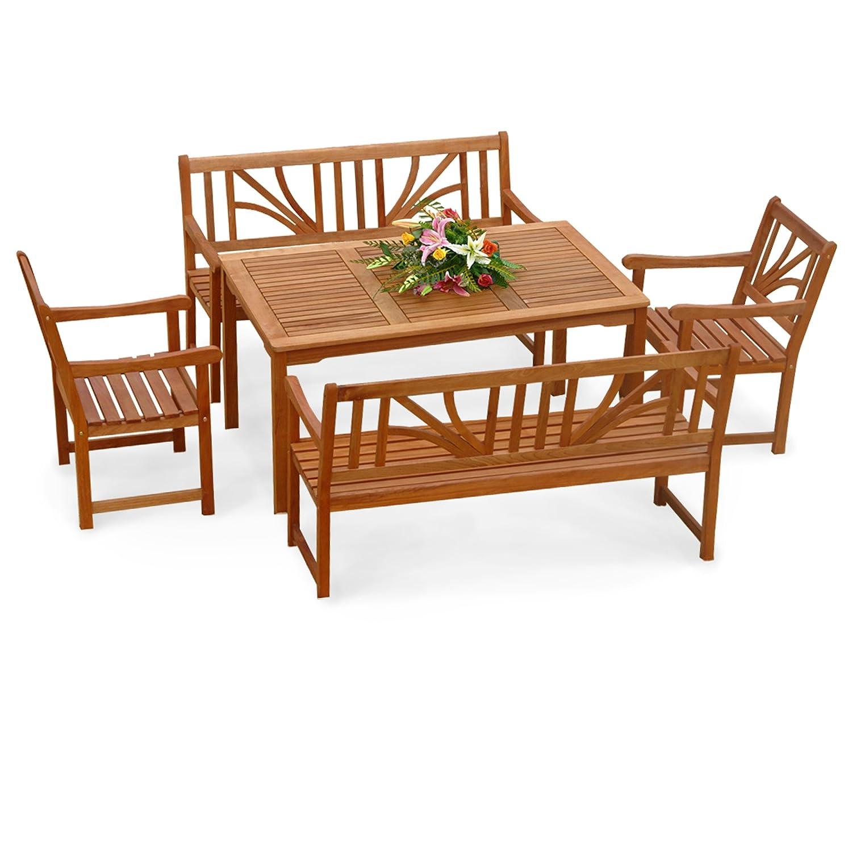 indoba® IND-70027-LOSE5 - Serie Lotus - Gartenmöbel Set 5-teilig aus Holz FSC zertifiziert - 2 Gartenstühle + 2 Gartenbänke + rechteckiger Gartentisch mit Schirmöffnung