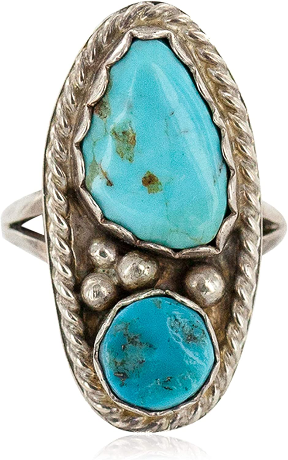 $250Tag Certified Silver Navajo Natural Turquoise Native Ring Size 9 1//2 26208-1 Made by Loma Siiva