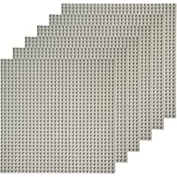 """EKIND 6 PCS Classic Building Baseplate 10"""" x 10"""" Compatible with Lego Brickyard Building Blocks, Perfect for Activity Table or Displaying Compatible Construction Toys (Gray)"""
