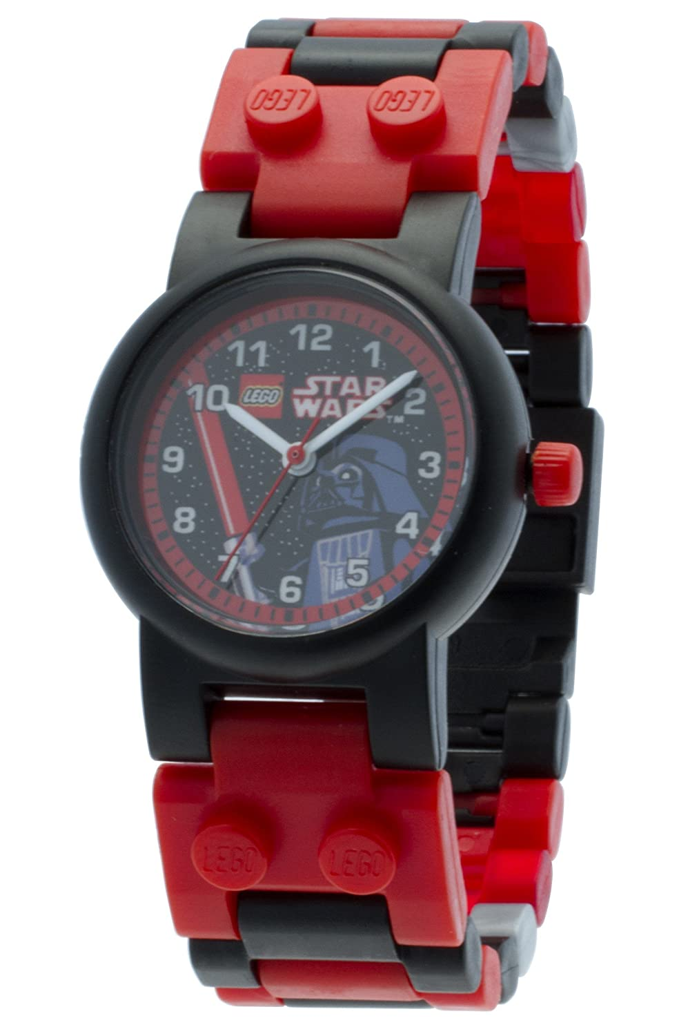 LEGO Star Wars 8020301 Darth Vader Kids Buildable Watch with Link Bracelet and Mini Figure | red/black | plastic | 28mm case diameter | analog quartz | boy girl | official