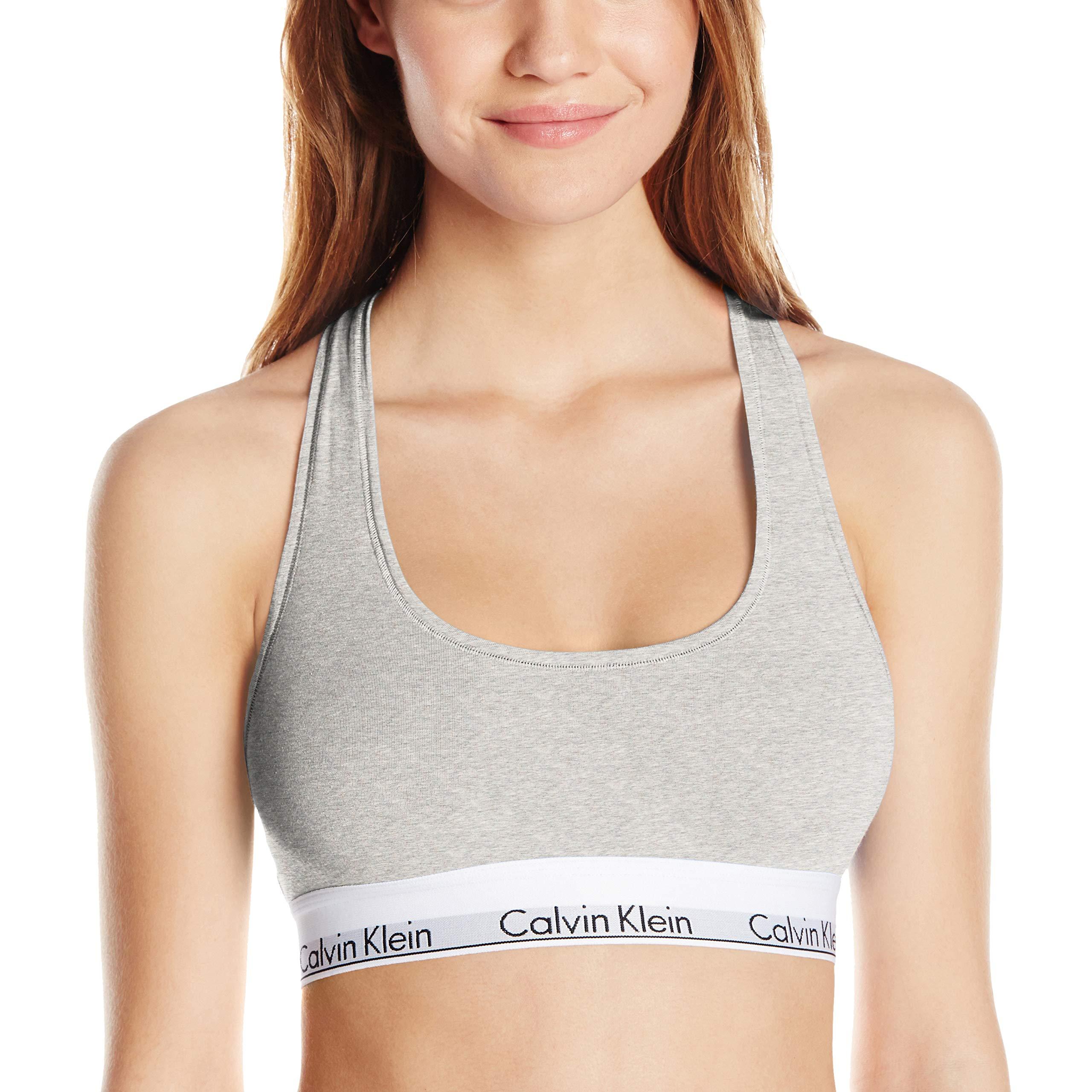 Calvin Klein Women's Modern Cotton Bralette, Grey Heather, Medium