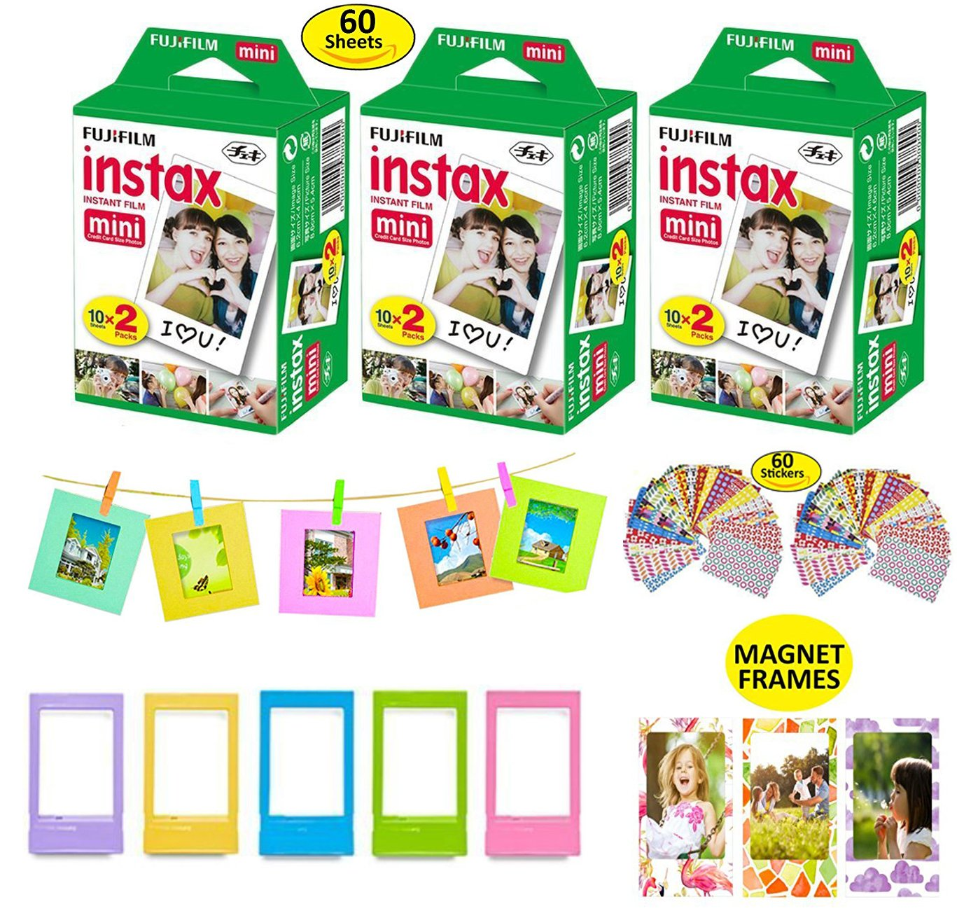 Fujifilm Instax Mini Instant Film, 3 Twin Packs (60 Total Pictures) + 5 Picture Frames + 3 Magnet Frames + 10 Paper Frames + 60 Sticker Frames.