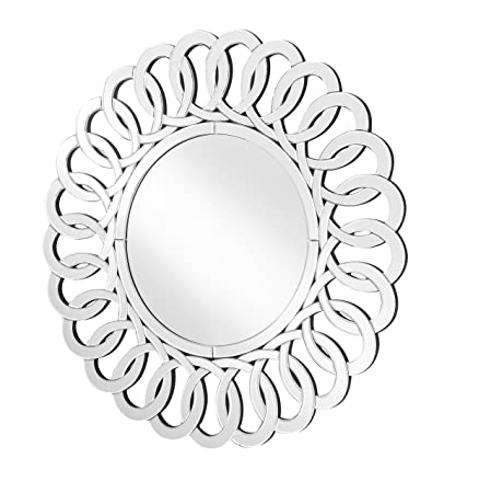 Decor Central ADMIR-27381 Contemporary Round Mirror with MDF Frame, 31.5 , Clear Finish