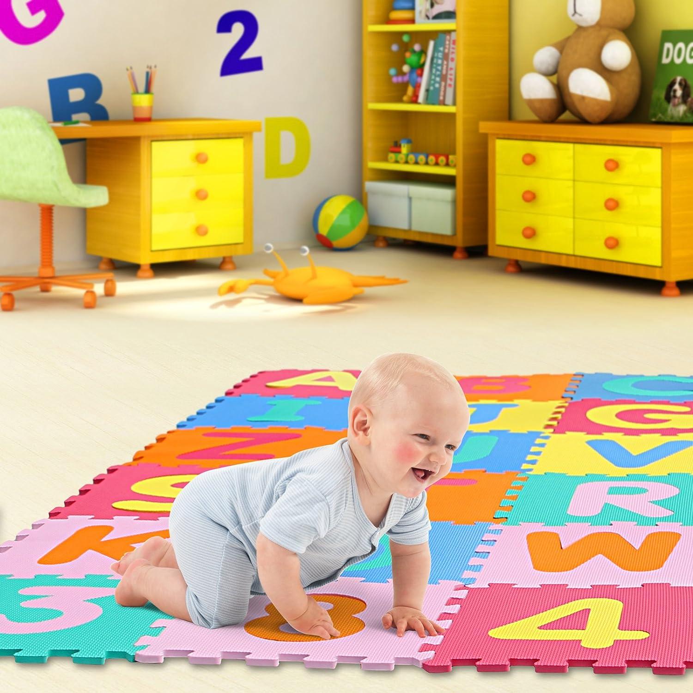 Yorbay Alfombra puzle para Ni/ños bebe infantil 36 piezas Numeros 0 al 9 y 26 Letras en Espuma EVA esteras de 32x32 cm