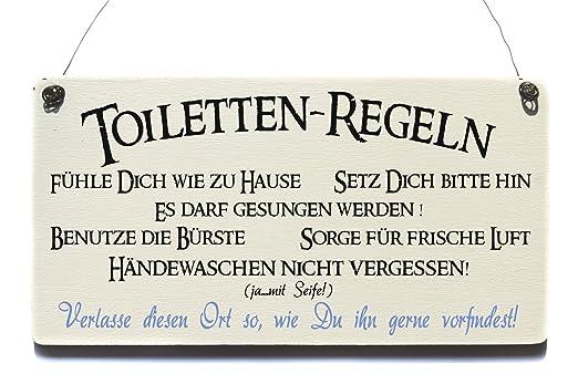 Vintage Cartel de madera Reglas de inodoros Blanco Shabby ...