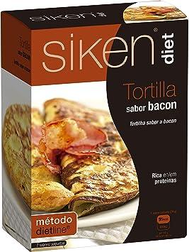 Siken Diet - Tortilla sabor a Bacon. Caja con 7 sobres de 24 g. 95 Kcal/sobre.