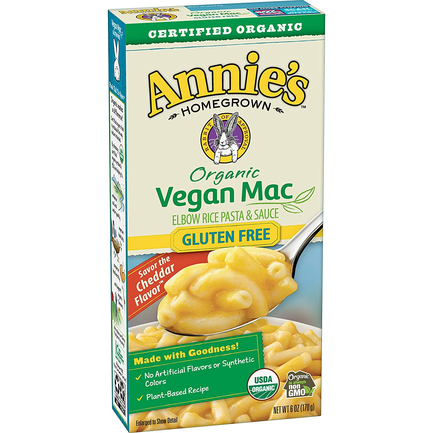 Annie's Organic Vegan Gluten-Free Elbows & Creamy Sauce Macaroni & Cheese, 12 Boxes, 6oz (Pack of 12) - Packaging May Vary