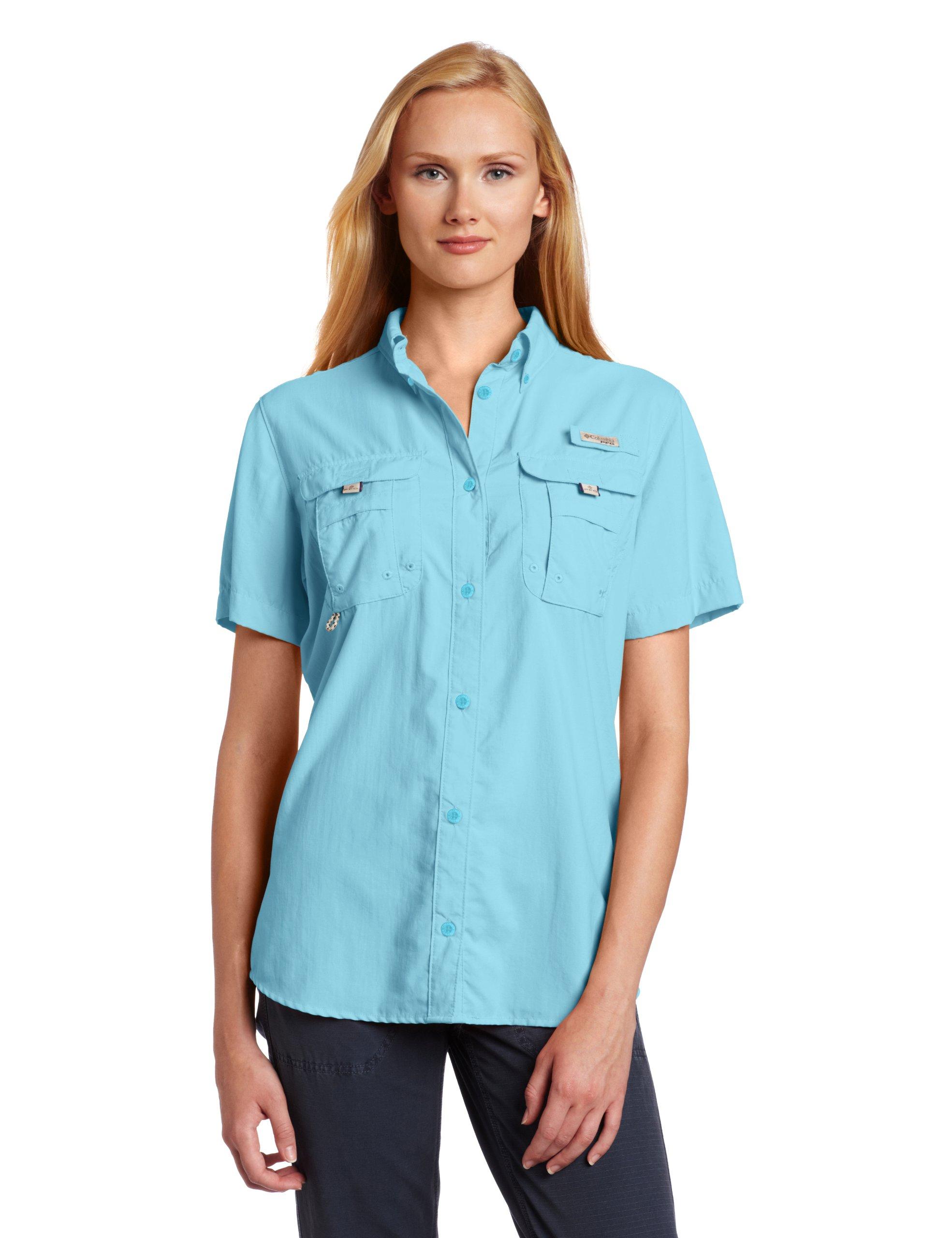 Columbia Women's PFG Bahama Short Sleeve Shirt , Air Stream, X-Large