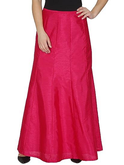 Just Wow Silk Flared Full Length Pink Wonmen\'s Skirt_Jw1060