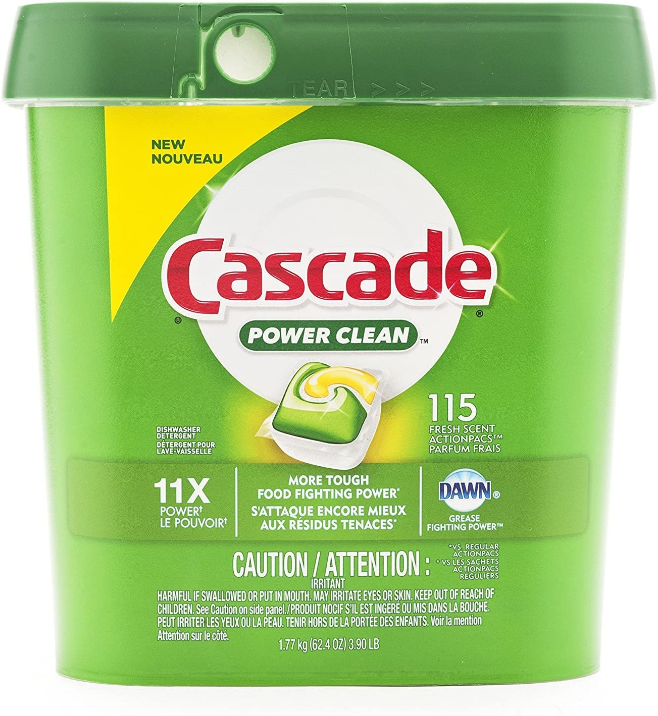 Cascade ActionPacs Dishwasher Detergent Fresh Scent 115 Count, Green