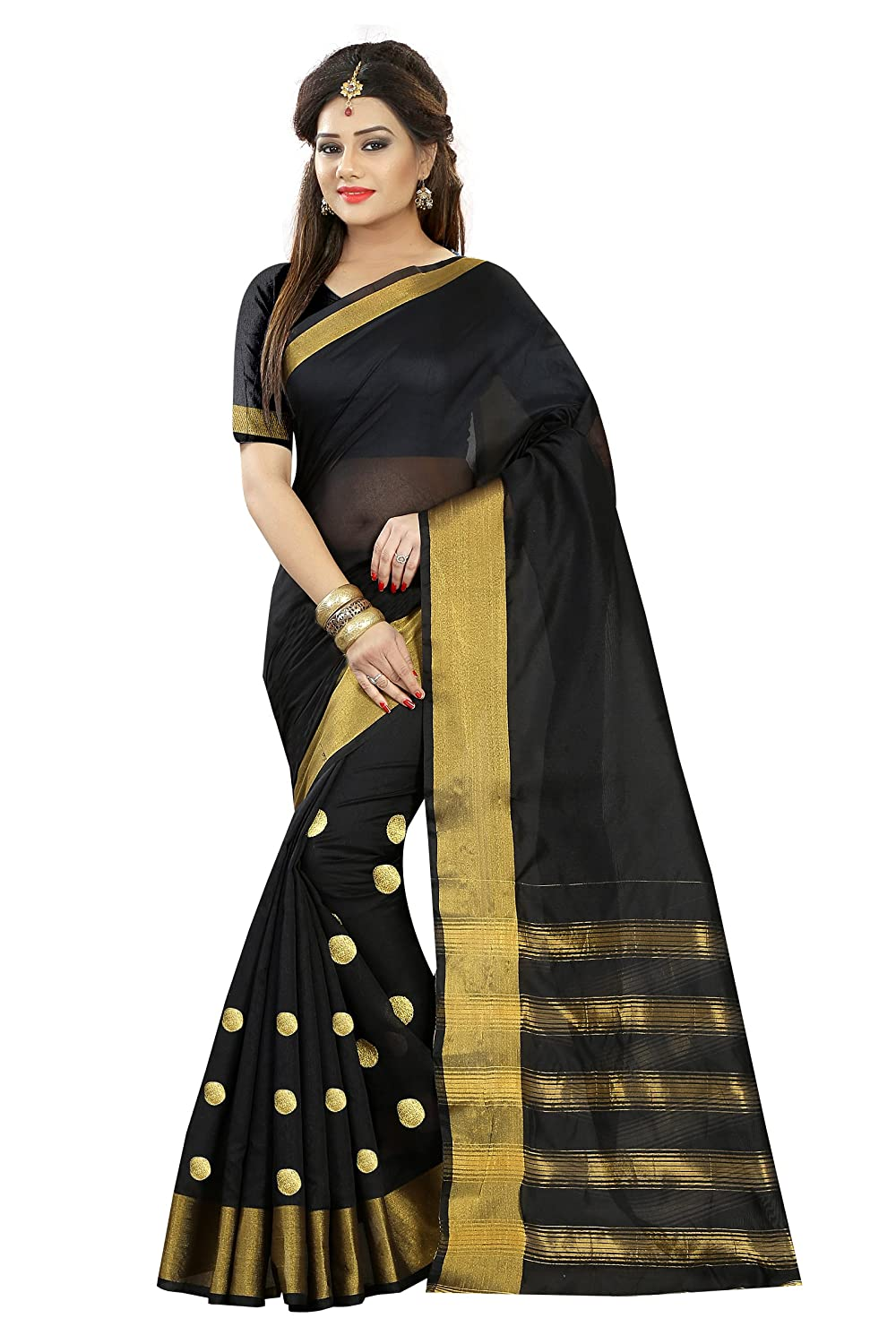 Maahik Sarees Women's Black Cotton Silk Saree With Blouse Piece