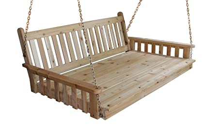 183 & BEST HANGING PORCH SWING BED SWINGBED 6\u0027 Cedar Swinging Daybed For Relaxing Moments Fun 3 Person Seating For Patio Porches Pergola Furniture Amish ...