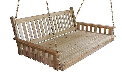 Amazon Com Best Hanging Porch Swing Bed Swingbed 6 Cedar
