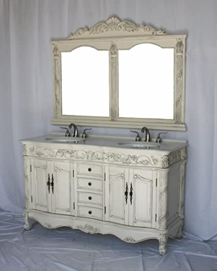 Remarkable 60 Inch Antique Style Double Sink Bathroom Vanity Set With Download Free Architecture Designs Scobabritishbridgeorg