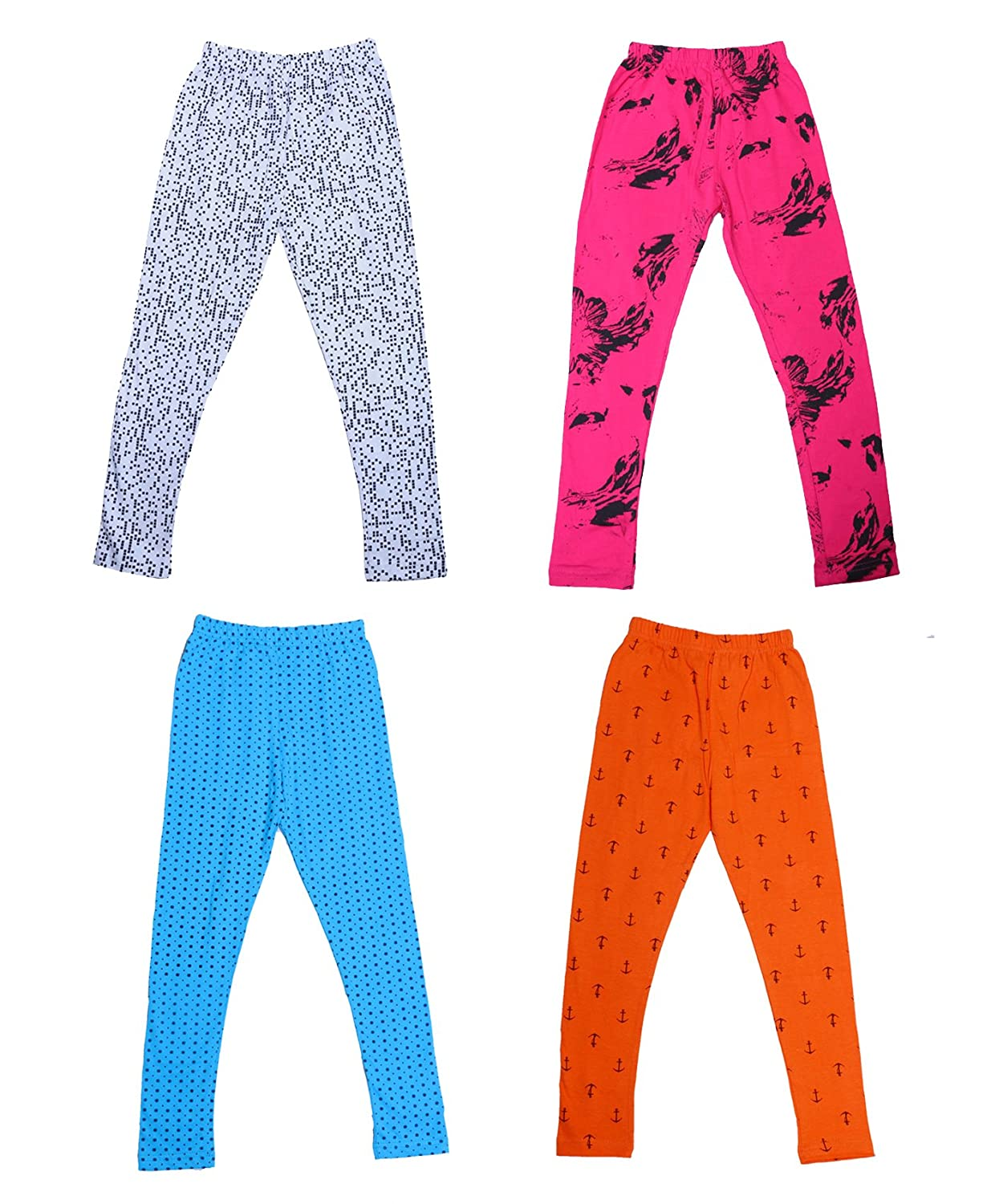 Indistar IndiWeaves Girls Super Soft and Stylish Cotton Printed Legging(Pack Of 4)