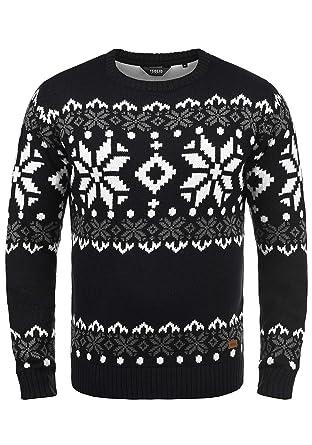 5533f31411 Solid Norwig Herren Weihnachtspullover Norweger-Pullover Winter  Strickpullover Grobstrick Pullover mit Rundhalsausschnitt, Größe