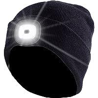 Lunartec Mütze mit Licht: Schwarze Strickmütze mit weißen (vorne) & roten (hinten) LEDs (Strickmützen mit LED Licht)