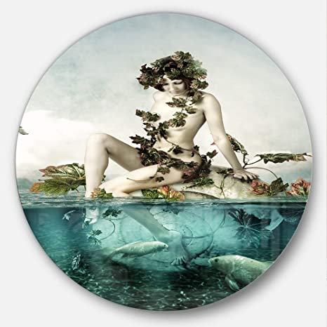Designart MT12352-C23 Sexy Woman Seating on Shell Modern Portrait Disc Metal  Wall Art- 486f4b2cb0