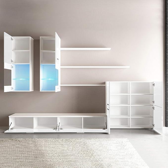 Mueble Comedor Moderno, Salón con Luces Led, Acabado en Blanco Brillo Lacado y Blanco Mate, Medidas: 300 cm (Ancho) x 189 cm (Alto) x 42 cm (Fondo)