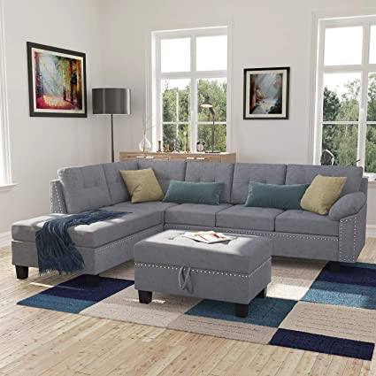 Amazon.com: Harper&Bright Designs Sectional Sofa Set with Chaise ...