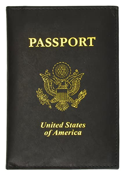 b9b2943efcd4 United States Passport Holder Golden Print Emblem Genuine Leather (Black)