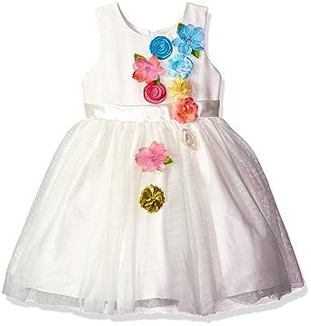 f7ac81368c5 Amazon.com  Jayne Copeland Girls  Little Tulle-Multi Flowers-Dress ...