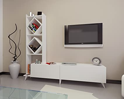 Decorotika Deko 71u0026quot; TV Stand And Entertainment Center With Accent  Cubic Design Bookcase