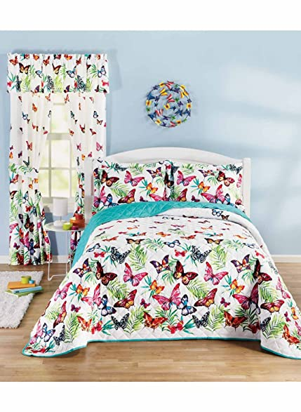 Charmant Butterfly Garden Bedding Separates   Full (96 W X 110 L)