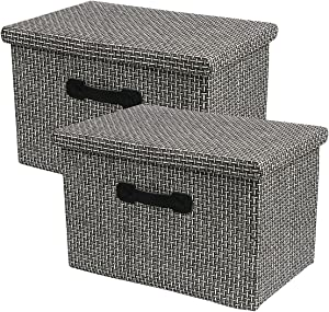 HUATK 2 Pack Decorative Storage Boxes with Lids Storage Woven Baskets for Shelves, Closet Organization Bins for Office, Bedroom, Closet, Toys (Black)