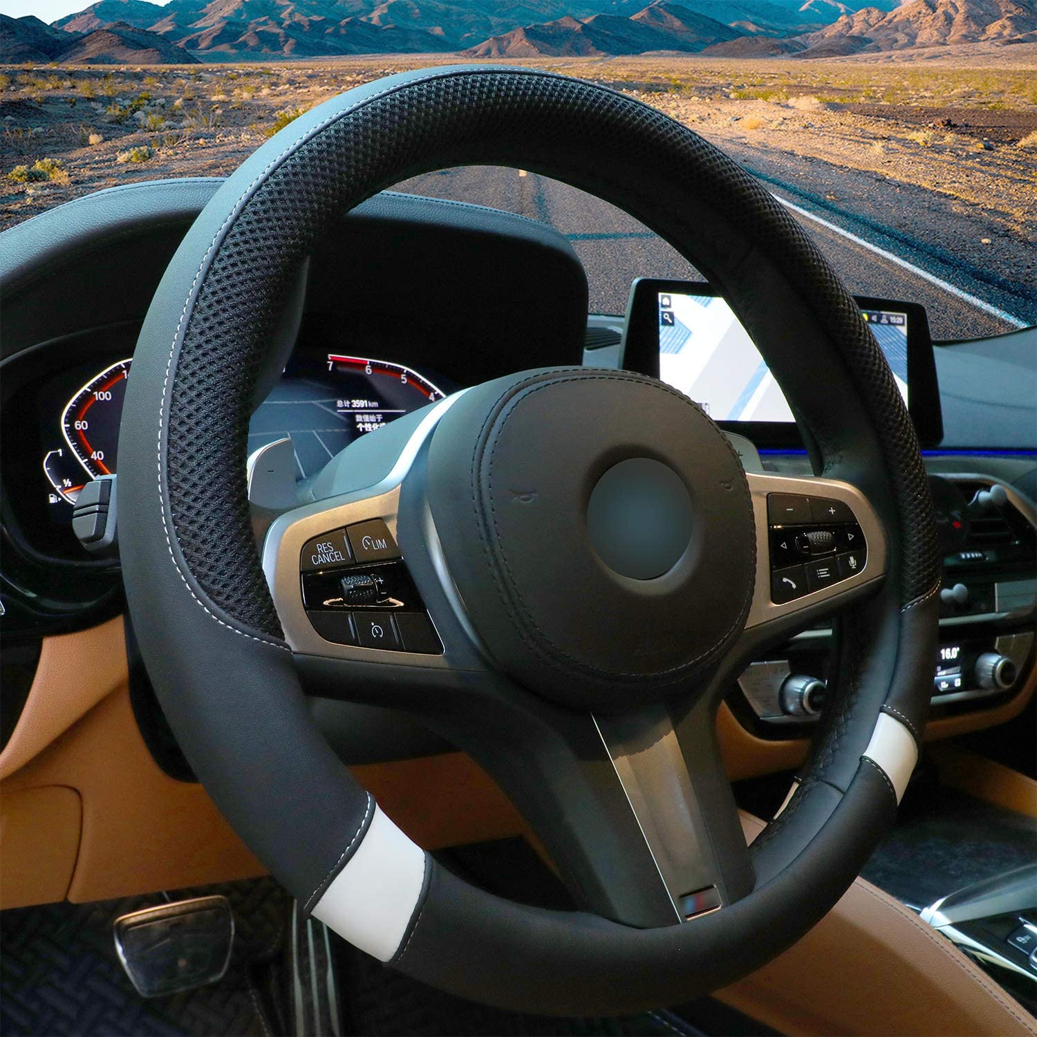 Blue Steering Wheel Cover with Breathable Mesh Universal 15 inch Steering Wheel for Car Truck SUV