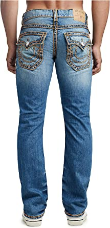 Amazon Com True Religion Ricky Ropestitch Pantalones Vaqueros Para Hombre Corte Recto Espacio Celeste 42 Clothing