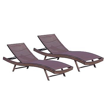 Denise Austin Home Burnham Outdoor Brown Mesh Chaise Lounge Chair (Set Of 2)