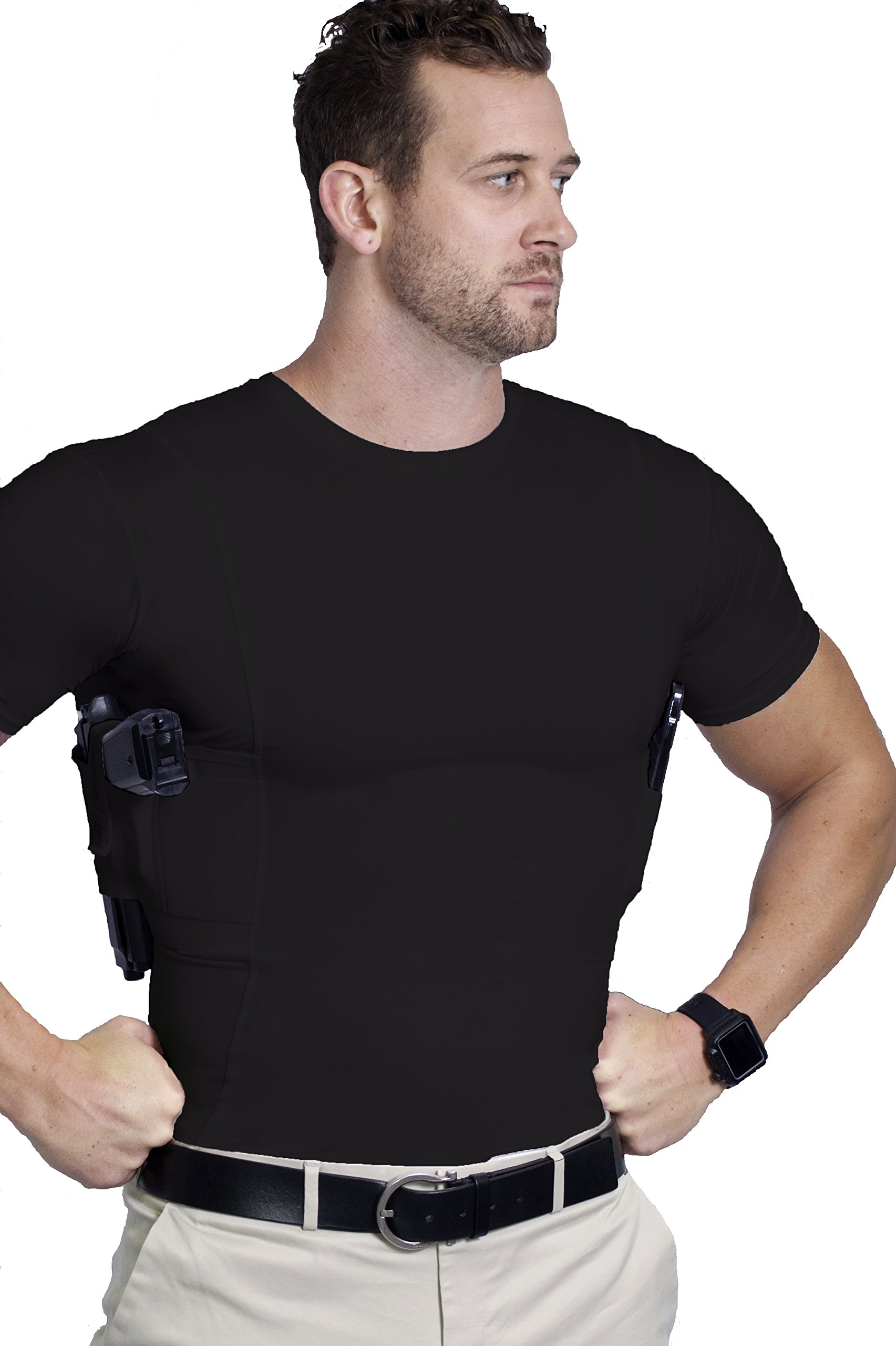 AC Undercover Concealed Carry Crew Neck Tshirt/CCW Tactical Clothing/Concealed Clothing REF. 511 (Black) (Black 3-Pack, Medium) by AC Undercover (Image #3)