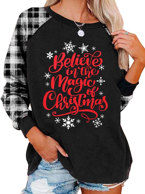Believe Christmas T-Shirt Women Believe in The Magic of Christmas Plaid Shirt Baseball Raglan Splicing Tee Tops