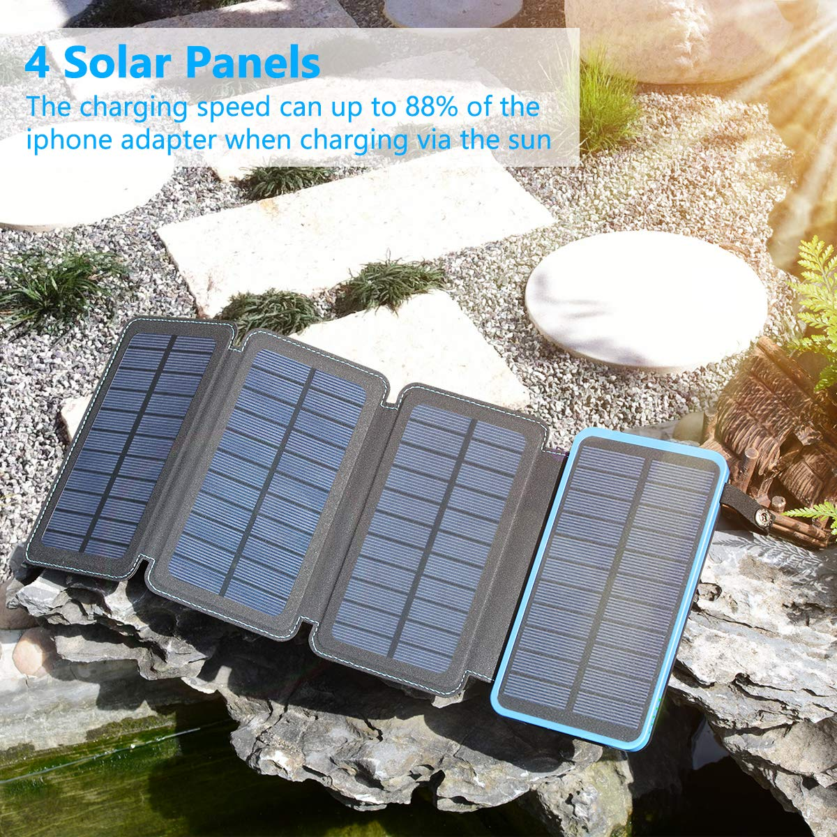 FEELLE Solar Power Bank with 4 Solar Panels Outdoor Waterproof Solar Phone Chargers with Dual 2.1A USB Ports for Smart Phone Solar Charger 25000mAh ect. Tablets Camera