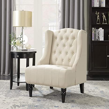 Astounding Belleze Tall Wingback Tufted Fabric Accent Chair Tufted High Back With Nail Head Beige Bralicious Painted Fabric Chair Ideas Braliciousco
