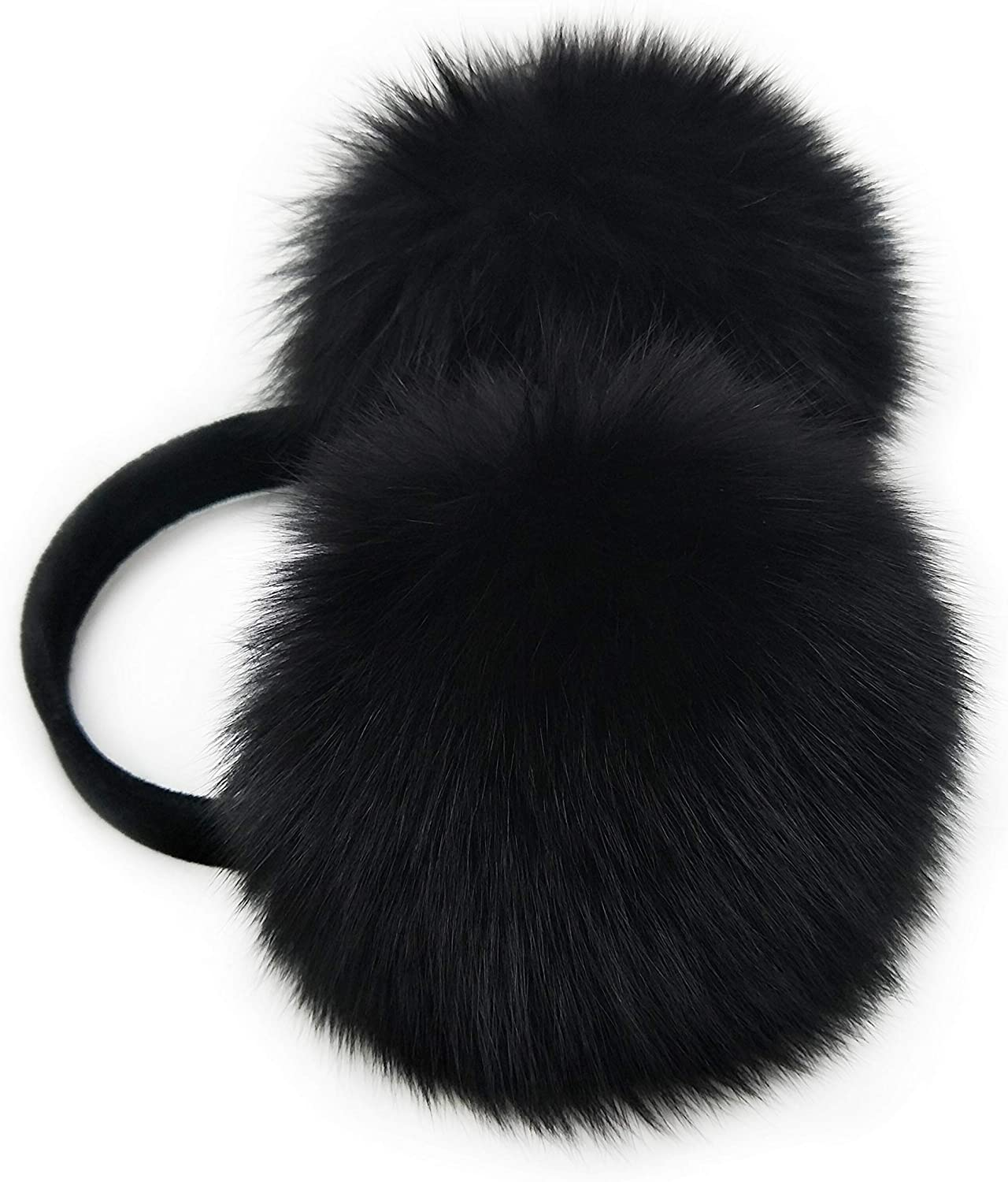 Real Fox Fur Earmuff (Black) at  Women's Clothing store: Cold Weather Earmuffs