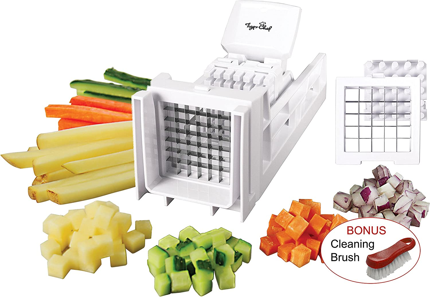 Tiger Chef French Fry Cutter and Easy Vegetable Dicer Chopper With 2 Interchangeable Blades