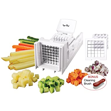 Tiger Chef French Fry Cutter and Easy Vegetable Dicer Chopper With 2 Interchangeable Blades - Also Great for Onions, Carrots, Cucumbers and more (White)