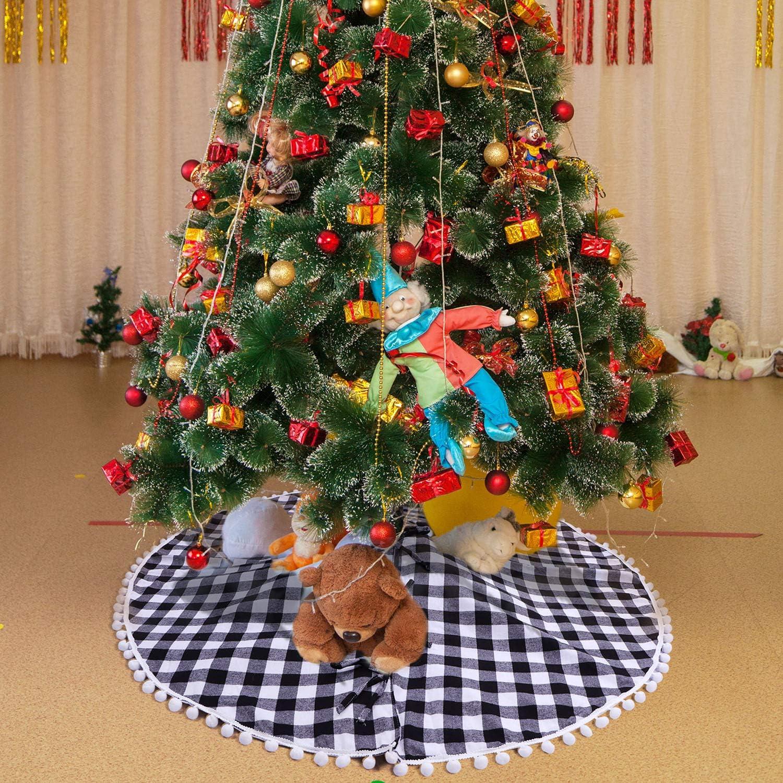 HIALTODAY Christmas Tree Skirt Buffalo Plaid Tree Mat Carpet 48 Inches for Xmas Party Holiday Decoration
