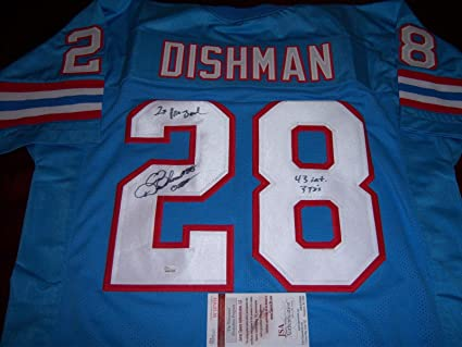 Image Unavailable. Image not available for. Color  Signed Chris Dishman  Jersey - Houston Oilers 43 Int 3tds 2x Probowl coa - JSA Certified eda74e12e