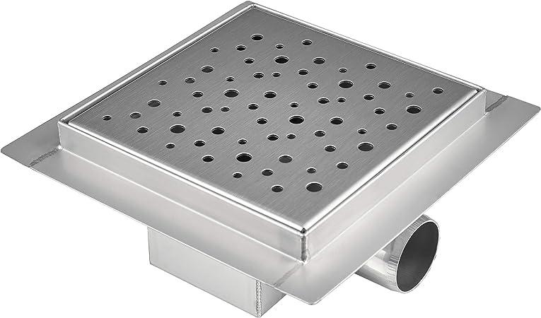 vilstein Caniveau de douche avec siphon de sol et de bonde de douche carr/é Cercles 30/x 30/cm VS-DB03-20K argent