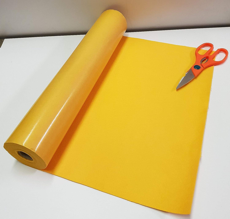 Rollo de 3 metros x 450 mm de ancho ancho ancho de color amarillo con parte trasera adhesiva de fieltro para cebo 9269d5